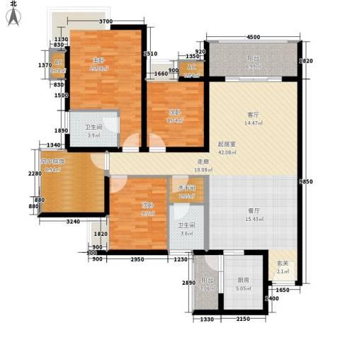 蓝天华庭3室0厅2卫1厨159.00㎡户型图