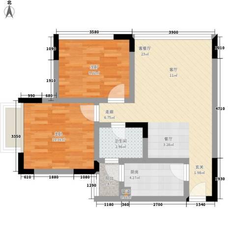 天河名港2室1厅1卫1厨60.00㎡户型图