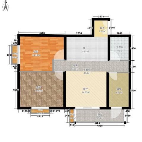 清枫华景园2室1厅1卫1厨109.00㎡户型图