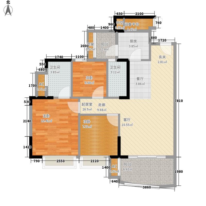 尚东尚筑90.33㎡A2、A4座5―16层面积9033m户型