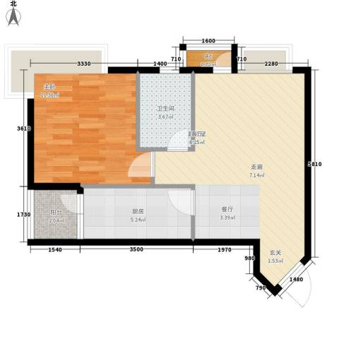 美好星空1室0厅1卫1厨46.00㎡户型图