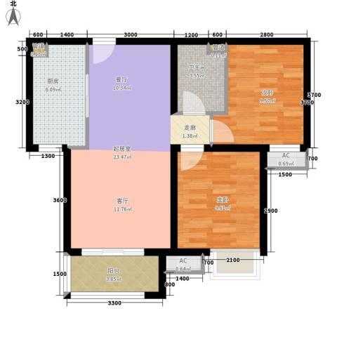 汇金园2室0厅1卫1厨84.00㎡户型图