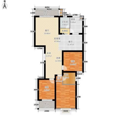 北湾景园3室0厅1卫1厨140.00㎡户型图
