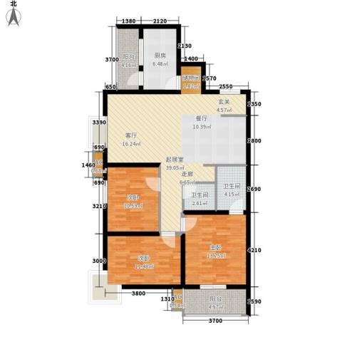 中环国际城3室0厅2卫1厨128.00㎡户型图