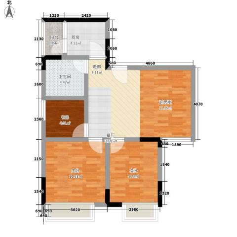 天河名港3室1厅1卫1厨68.00㎡户型图