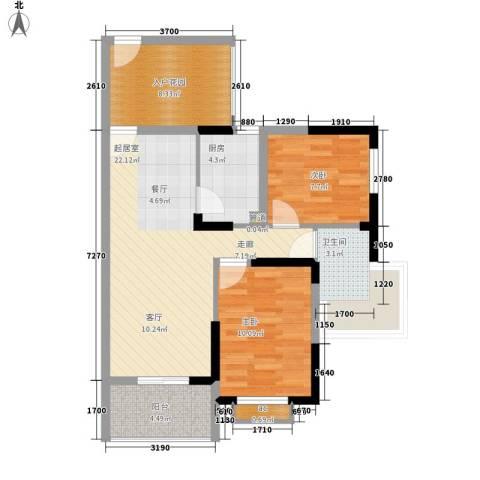 万宁东岸假日2室0厅1卫1厨88.00㎡户型图