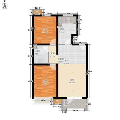 保利花园2室0厅1卫1厨103.00㎡户型图