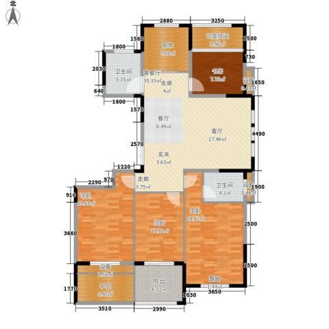 中嘉银都水岸4室1厅2卫1厨140.00㎡户型图
