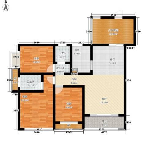 877厂家属院3室1厅2卫1厨136.00㎡户型图