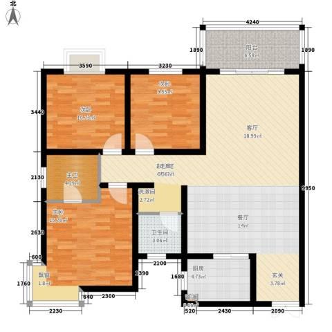 北湾景园3室0厅1卫1厨142.00㎡户型图