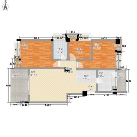 世纪经典3室1厅1卫1厨131.00㎡户型图