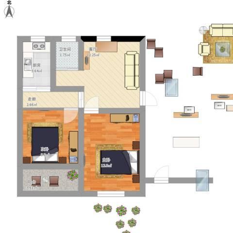 三里亭四区2室1厅1卫1厨70.00㎡户型图