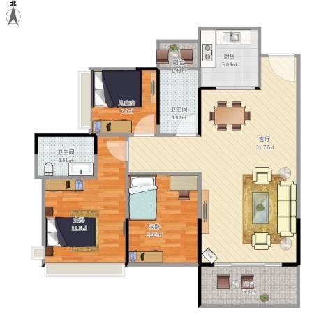 嘉宏公园1号3室1厅2卫1厨108.00㎡户型图