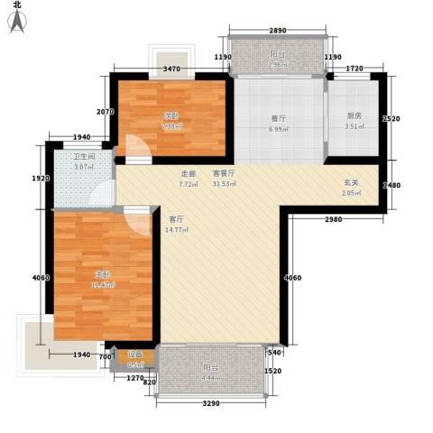 安鑫雅庭2室1厅1卫1厨89.00㎡户型图