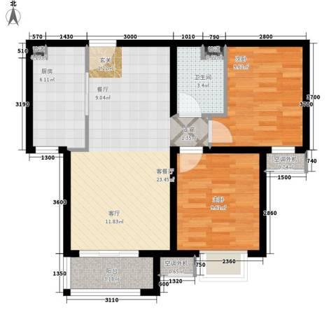 任家庄2室1厅1卫1厨83.00㎡户型图