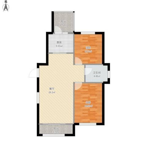 鼎力叶知林2室1厅1卫1厨98.00㎡户型图