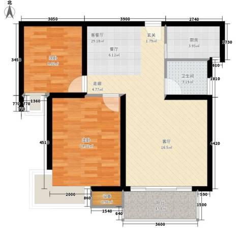安鑫雅庭2室1厅1卫1厨91.00㎡户型图