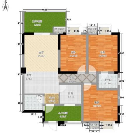 热电小区3室1厅2卫1厨136.00㎡户型图