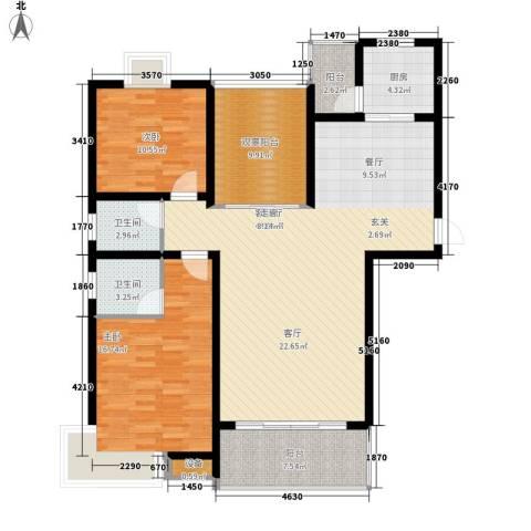 安鑫雅庭2室1厅2卫1厨122.00㎡户型图