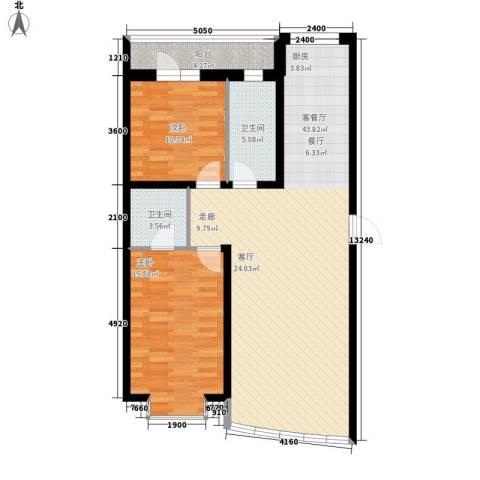 东港国际城2室1厅2卫0厨118.00㎡户型图