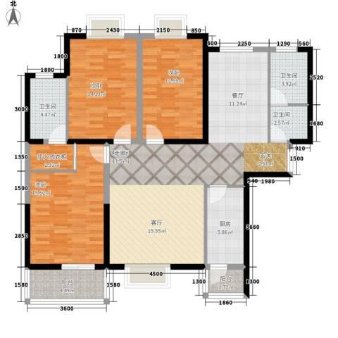 电视台家属院3室1厅3卫1厨154.00㎡户型图