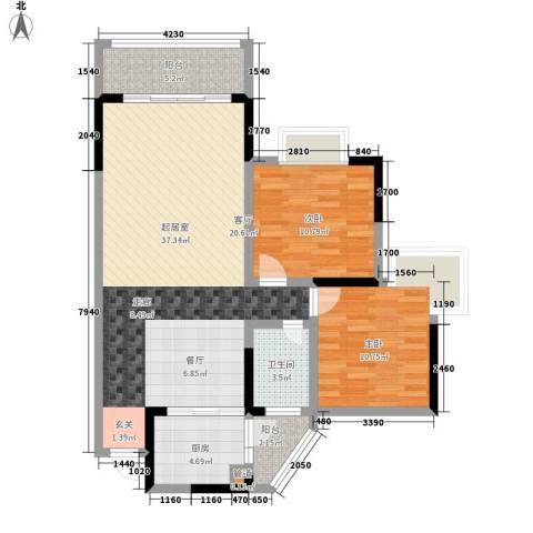 金辉融侨半岛云满庭D区2室0厅1卫1厨107.00㎡户型图
