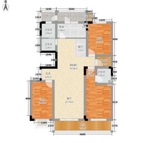 龙景花园3室1厅3卫1厨115.00㎡户型图