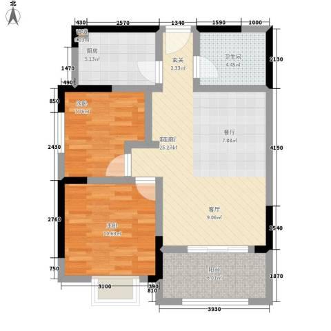 青秀家园2室1厅1卫1厨84.00㎡户型图