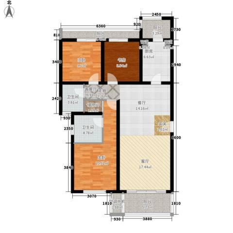 热电小区3室1厅2卫1厨147.00㎡户型图