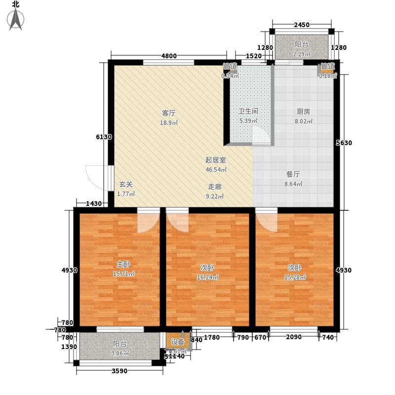 双湖锦苑120.00㎡A户型3室2厅1卫1厨 120.00㎡户型3室2厅1卫