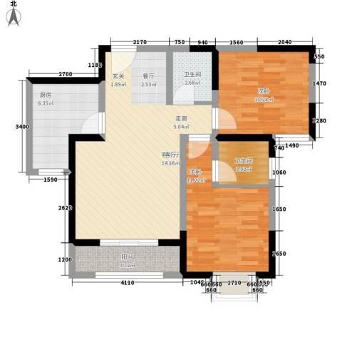青秀家园2室1厅2卫1厨93.00㎡户型图