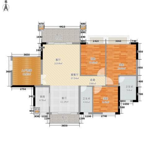 雍华庭3室1厅2卫1厨156.00㎡户型图