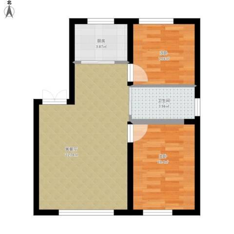 御景名都2室1厅1卫1厨69.00㎡户型图