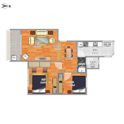 比华利山庄2室1厅1卫1厨72.00㎡户型图
