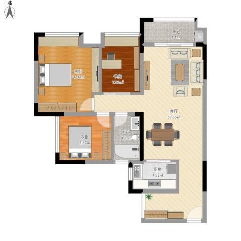 优越香格里3室1厅1卫1厨120.00㎡户型图