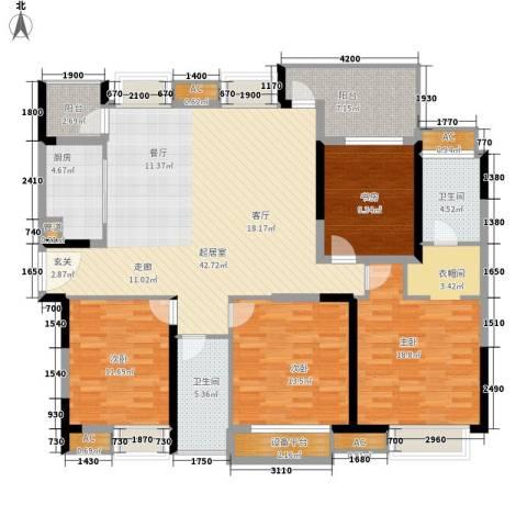 大信小区4室0厅2卫1厨179.00㎡户型图