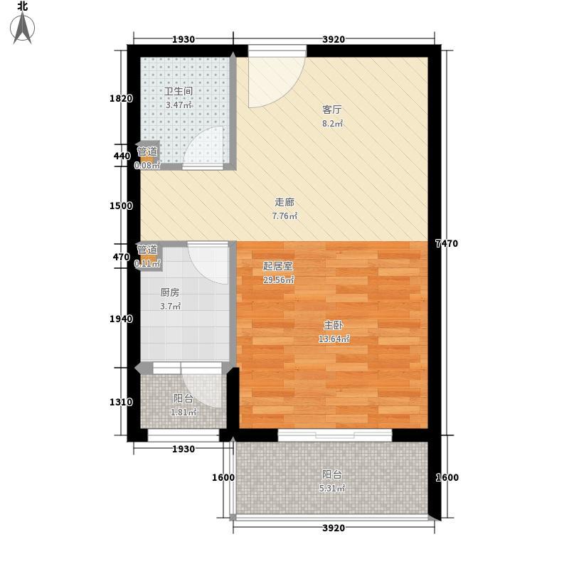 鸿港国际公寓50.00㎡面积5000m户型