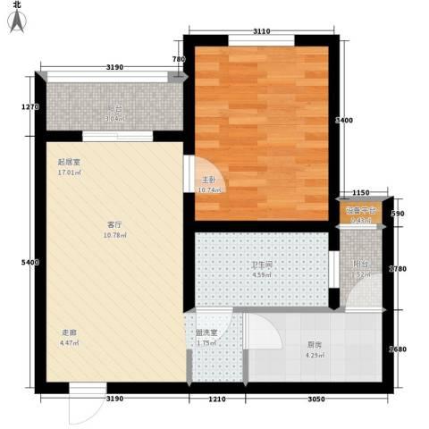 里维埃拉竹海1室0厅1卫1厨59.00㎡户型图