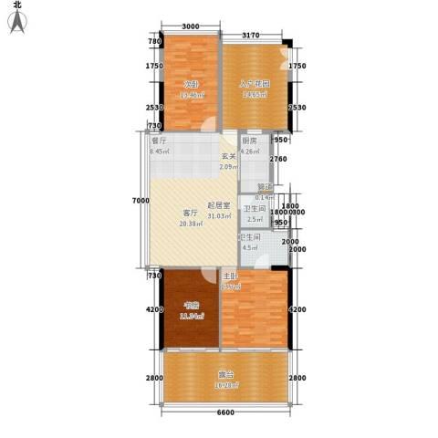 水云居3室0厅2卫1厨122.00㎡户型图