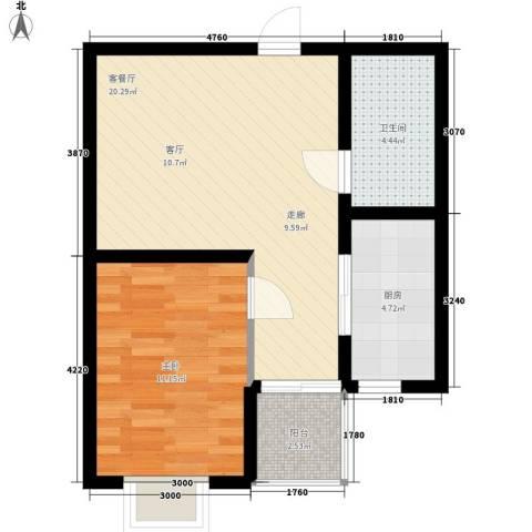 里维埃拉竹海1室1厅1卫1厨66.00㎡户型图