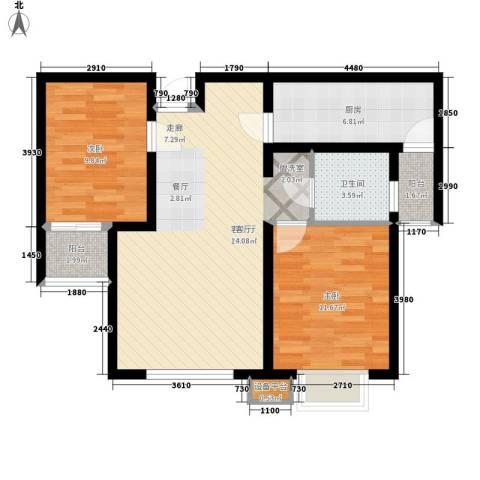 里维埃拉竹海2室1厅1卫1厨90.00㎡户型图