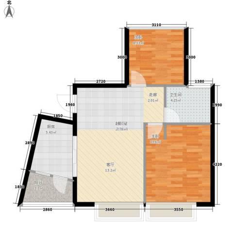 兰亭峰景2室0厅1卫1厨75.00㎡户型图