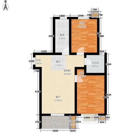 里维埃拉竹海2室1厅1卫1厨95.00㎡户型图