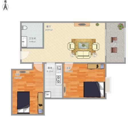 馨雅园2室1厅1卫1厨86.00㎡户型图