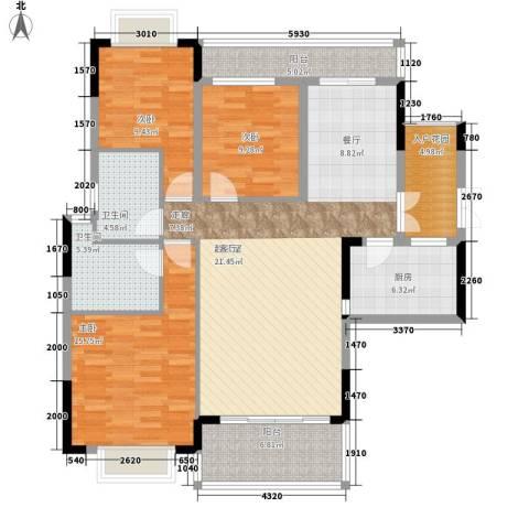 卧龙五洲世纪城3室0厅2卫1厨150.00㎡户型图