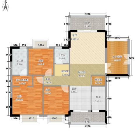 卧龙五洲世纪城3室0厅2卫1厨145.00㎡户型图