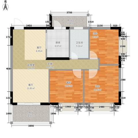 大信海岸家园3室0厅1卫1厨116.00㎡户型图