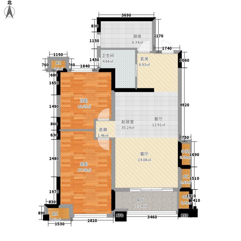 恒生伴山94.00㎡1/2/10号楼B-1户面积9400m户型