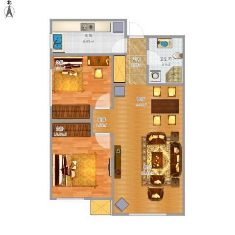万科・润园2室1厅1卫1厨85.00㎡户型图