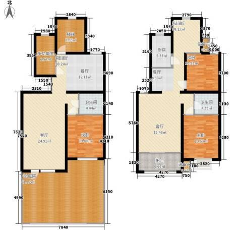 里维埃拉竹海3室2厅2卫1厨204.03㎡户型图